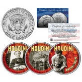 HARRY HOUDINI - Master of Escape - Colorized JFK Kennedy U.S. Half Dollar 3-Coin Set