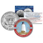 SANDY HOOK LIGHTHOUSE - 250th Anniversary - 2014 JFK Half Dollar Colorized US Coin