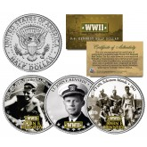 Lieutenant JOHN F KENNEDY - World War II Navy - JFK Half Dollar US 3-Coin Set WWII