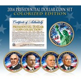 2014 Presidential $1 Dollar U.S. COLORIZED - Complete 4-Coin Set - with Capsules