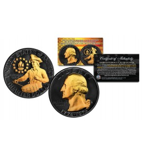BLACK RUTHENIUM 1976 S Washington Bicentennial Quarter Gem BU 40% Silver US Coin with 24K Gold Higlights