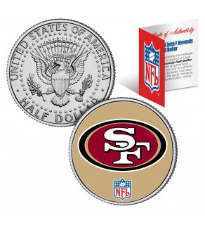 SAN FRANCISCO 49'ers NFL JFK Kennedy Half Dollar US Colorized Coin - Officially Licensed