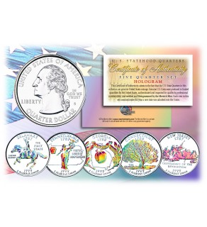 1999 US Statehood Quarters HOLOGRAM - 5-Coin Complete Set - with Capsules & COA