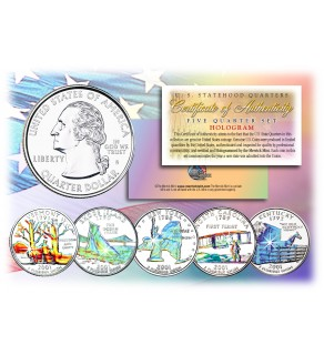 2001 US Statehood Quarters HOLOGRAM - 5-Coin Complete Set - with Capsules & COA