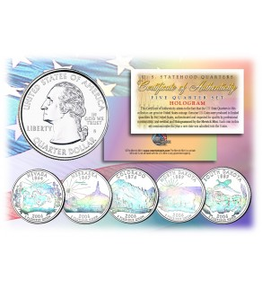 2006 US Statehood Quarters HOLOGRAM - 5-Coin Complete Set - with Capsules & COA
