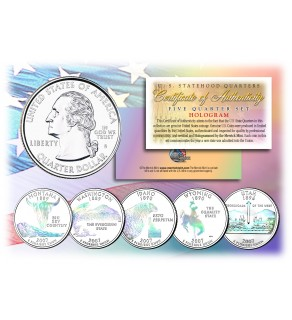 2007 US Statehood Quarters HOLOGRAM - 5-Coin Complete Set - with Capsules & COA