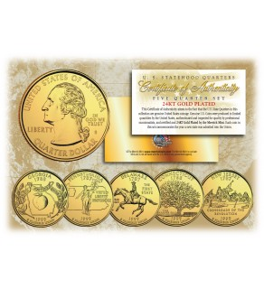 1999 US Statehood Quarters 24K GOLD PLATED - 5-Coin Complete Set - with Capsules & COA