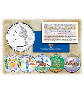 1999 US Statehood Quarters COLORIZED Legal Tender - 5-Coin Complete Set - with Capsules & COA