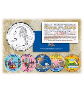 2003 US Statehood Quarters COLORIZED Legal Tender - 5-Coin Complete Set - with Capsules & COA