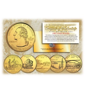 2005 US Statehood Quarters 24K GOLD PLATED - 5-Coin Complete Set - with Capsules & COA