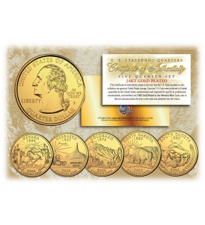 2006 US Statehood Quarters 24K GOLD PLATED - 5-Coin Complete Set - with Capsules & COA