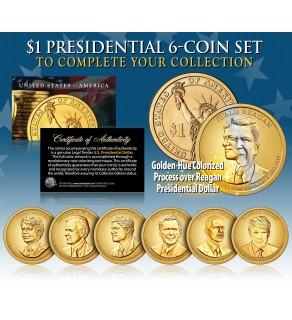 2016 Presidential $1 Dollar Colorized GOLDEN-HUE * 6-Coin Set * Living President Series - Carter, HW Bush, Clinton, Bush, Obama, Trump
