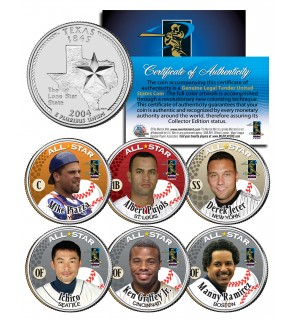 Baseball ALL-STARS 2004 Texas State Quarters US 6-Coin Set - Piazza Griffey Jeter Pujols Ichiro Ramirez