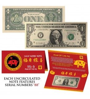 2019 CNY Chinese YEAR of the PIG Lucky Money S/N 88 U.S. $1 Bill w/ Red Folder