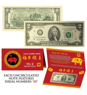 2019 CNY Chinese YEAR of the PIG Lucky Money S/N 88 U.S. $2 Bill w/ Red Folder