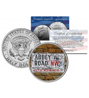 BEATLES - The Original ABBEY ROAD Street Sign - JFK Kennedy Half Dollar U.S. Coin