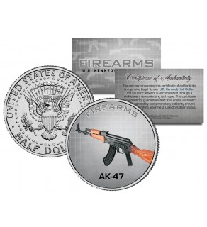 AK-47 Gun Firearm JFK Kennedy Half Dollar US Colorized Coin