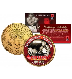 MUHAMMAD ALI 50th Anniversary Gold Medal JFK Kennedy Half Dollar 24K Gold Plated US Coin