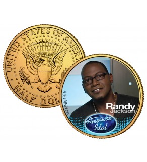 RANDY JACKSON American Idol 2009 JFK Kennedy Half Dollar 24K Gold Plated U.S. Coin