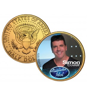 SIMON COWELL American Idol 2009 JFK Kennedy Half Dollar 24K Gold Plated U.S. Coin