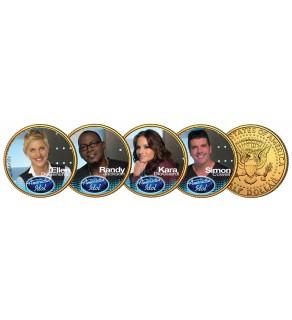AMERICAN IDOL 2009 JFK Half Dollar 24K Gold Plated 4-Coin Set ELLEN DeGeneres SIMON Cowell RANDY Jackson KARA DioGuardi