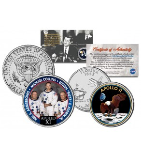 APOLLO 11 XI SPACE MISSION Colorized 2-Coin Set U.S. Florida Quarter & JFK Half Dollar - NASA ASTRONAUTS