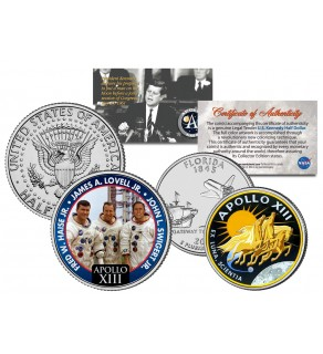 APOLLO 13 XIII SPACE MISSION Colorized 2-Coin Set U.S. Florida Quarter & JFK Half Dollar - NASA ASTRONAUTS