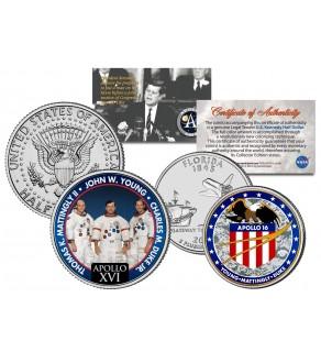 APOLLO 16 XVI SPACE MISSION Colorized 2-Coin Set U.S. Florida Quarter & JFK Half Dollar - NASA ASTRONAUTS