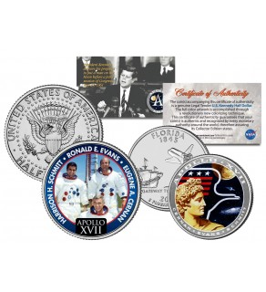 APOLLO 17 XVII SPACE MISSION Colorized 2-Coin Set U.S. Florida Quarter & JFK Half Dollar - NASA ASTRONAUTS