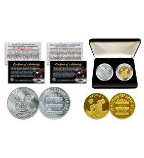 Apollo 11 50th Anniversary Man in Space Medals 2-Piece Commemorative NASA Coin Set with Deluxe Felt Display Box