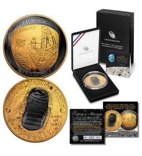 Apollo 11 50th Anniversary 2019 Curved Five Ounce Proof Silver Dollar – BLACK RUTHENIUM / 24K GOLD - Limited & Numbered of 19
