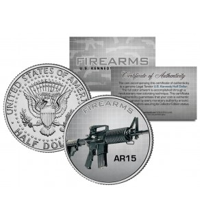 AR15 Gun Firearm JFK Kennedy Half Dollar US Colorized Coin