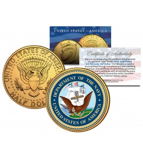 United States NAVY Emblem 24K Gold Plated JFK Kennedy Half Dollar Coin MILITARY