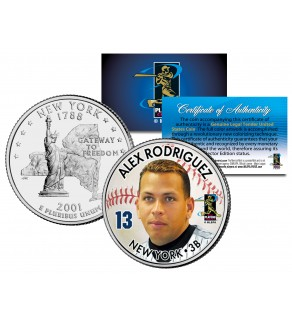 ALEX RODRIGUEZ Colorized New York State U.S. Quarter Coin - BUY 1 GET 1 FREE - bogo