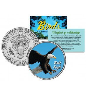 BALD EAGLE Collectible Birds JFK Kennedy Half Dollar Colorized US Coin