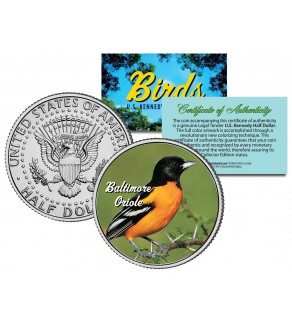BALTIMORE ORIOLE Collectible Birds JFK Kennedy Half Dollar Colorized US Coin