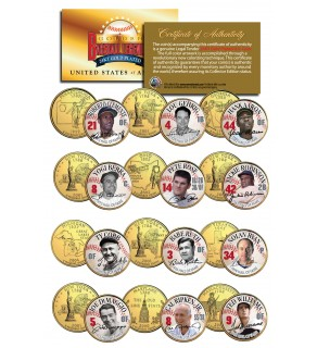 GOLDEN BASEBALL LEGENDS - Hall of Fame - State Quarters US 12-Coin Set 24K Gold Plated