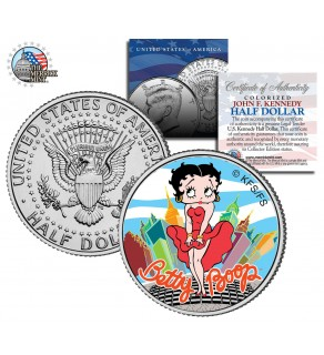 "BETTY BOOP "" City "" JFK Kennedy Half Dollar US Colorized Coin - Marilyn Monroe Pose - Officially Licensed"