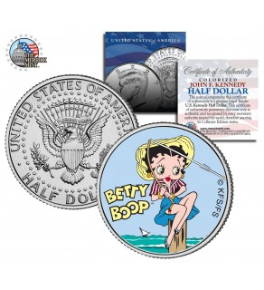 "BETTY BOOP "" Fishing "" JFK Kennedy Half Dollar US Colorized Coin - Officially Licensed"