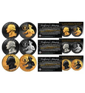 1976 Original Bicentennial Quarter SET of 3 Rare Metal Versions (Black Ruthenium, Silver, 24K Gold)