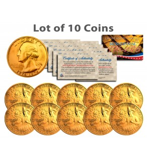Bicentennial 1976 Quarters US Coins 24K GOLD PLATED w/Capsules (Quantity 10)