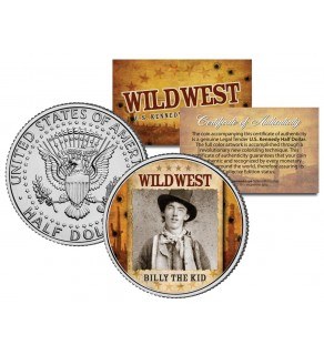 BILLY THE KID - Wild West Series - JFK Kennedy Half Dollar U.S. Colorized Coin