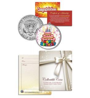 HAPPY BIRTHDAY - CELEBRATE - CAKE - Keepsake Gift JFK Kennedy Half Dollar US Coin