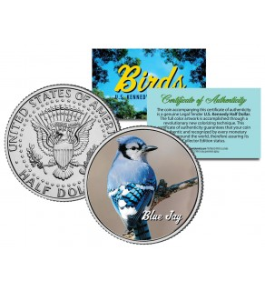 BLUE JAY Collectible Birds JFK Kennedy Half Dollar Colorized US Coin