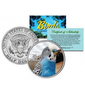 BLUE PARAKEET Collectible Birds JFK Kennedy Half Dollar Colorized US Coin