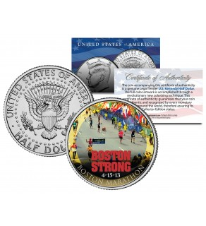 BOSTON STRONG 4-15-13 Colorized JFK Kennedy Half Dollar US Coin BOSTON MARATHON