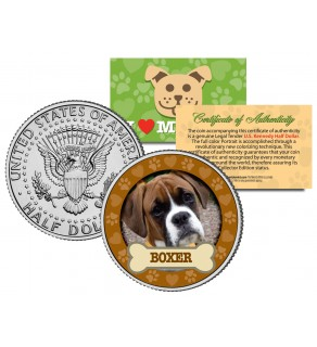 BOXER Dog JFK Kennedy Half Dollar U.S. Colorized Coin