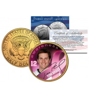Breast Cancer Awareness TOM BRADY NFL JFK Kennedy Half Dollar US 24K Gold Plated US Coin