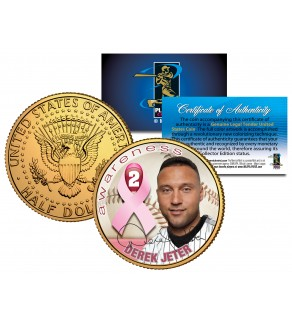 DEREK JETER Breast Cancer Awareness JFK Kennedy Half Dollar 24K Gold Plated U.S. Coin