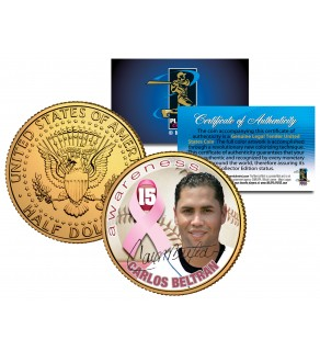 CARLOS BELTRAN Breast Cancer Awareness JFK Kennedy Half Dollar 24K Gold Plated U.S. Coin